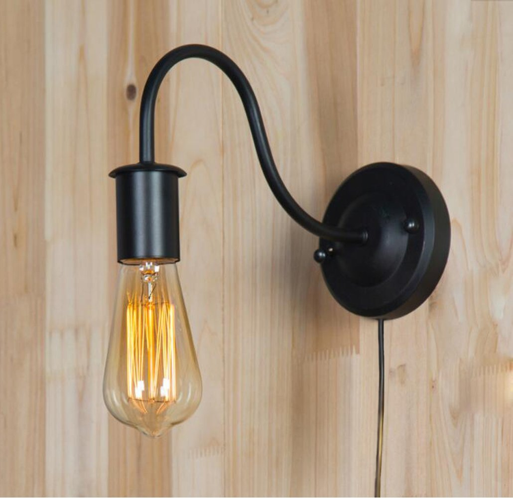 Wall Light Fixture Cable and Switch Fsliving Modern Simple Style Chrome Base and Glass Shade Wall Sconce with Practical Plug