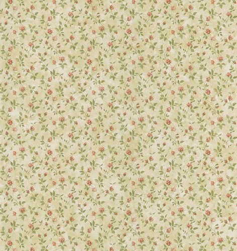 Brewster 403-49239 Cottage Living Abigail Beige Rosebud Trail Wallpaper (Vintage Flower Wallpaper)