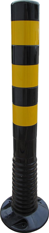 Bollard Posts, Barrier Posts Flexible Black Height 750 mm Diameter 80 mm Yellow Reflective Stripes Class RA2 Selbstaufrichtender Barrier Post UvV-Shop