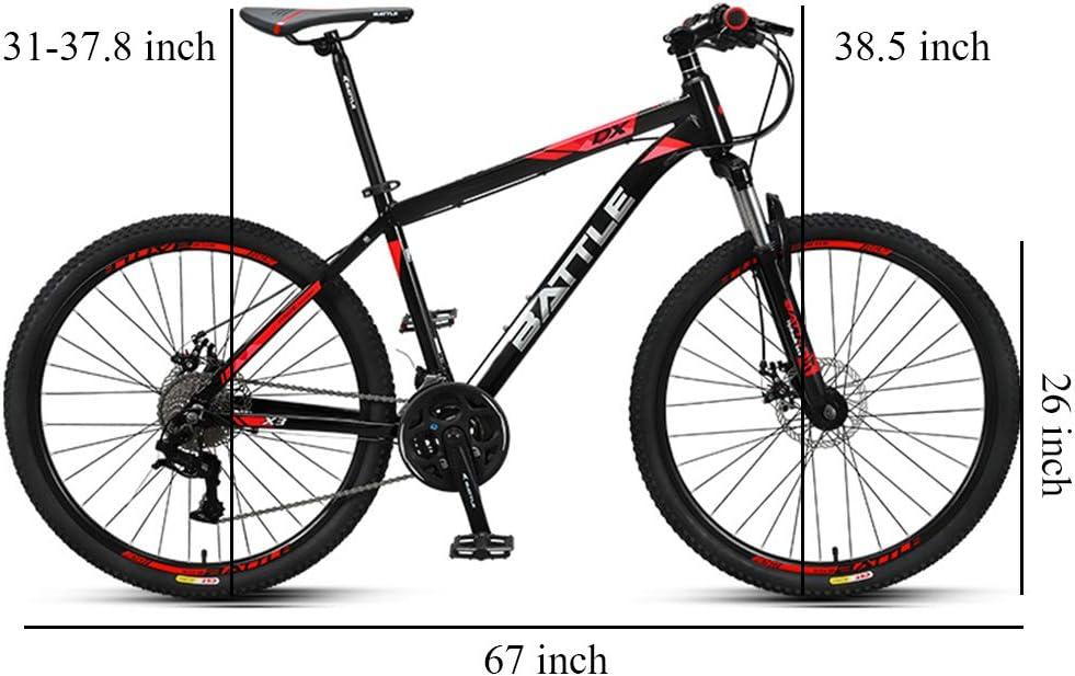 NENGGE 26 Pulgadas Bicicleta Montaña, 27 Velocidades Hard Tail ...