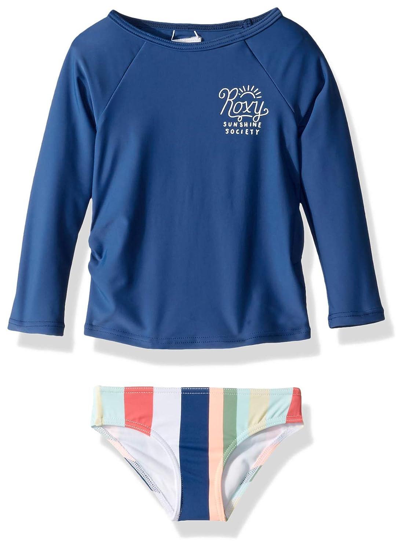 Roxy Little Girls Paradise Tropics Long Sleeve Rashguard Swimsuit Set