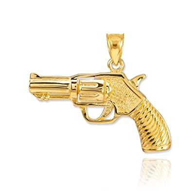 Amazon bold 14k yellow gold revolver pistol charm gun pendant bold 14k yellow gold revolver pistol charm gun pendant aloadofball Image collections