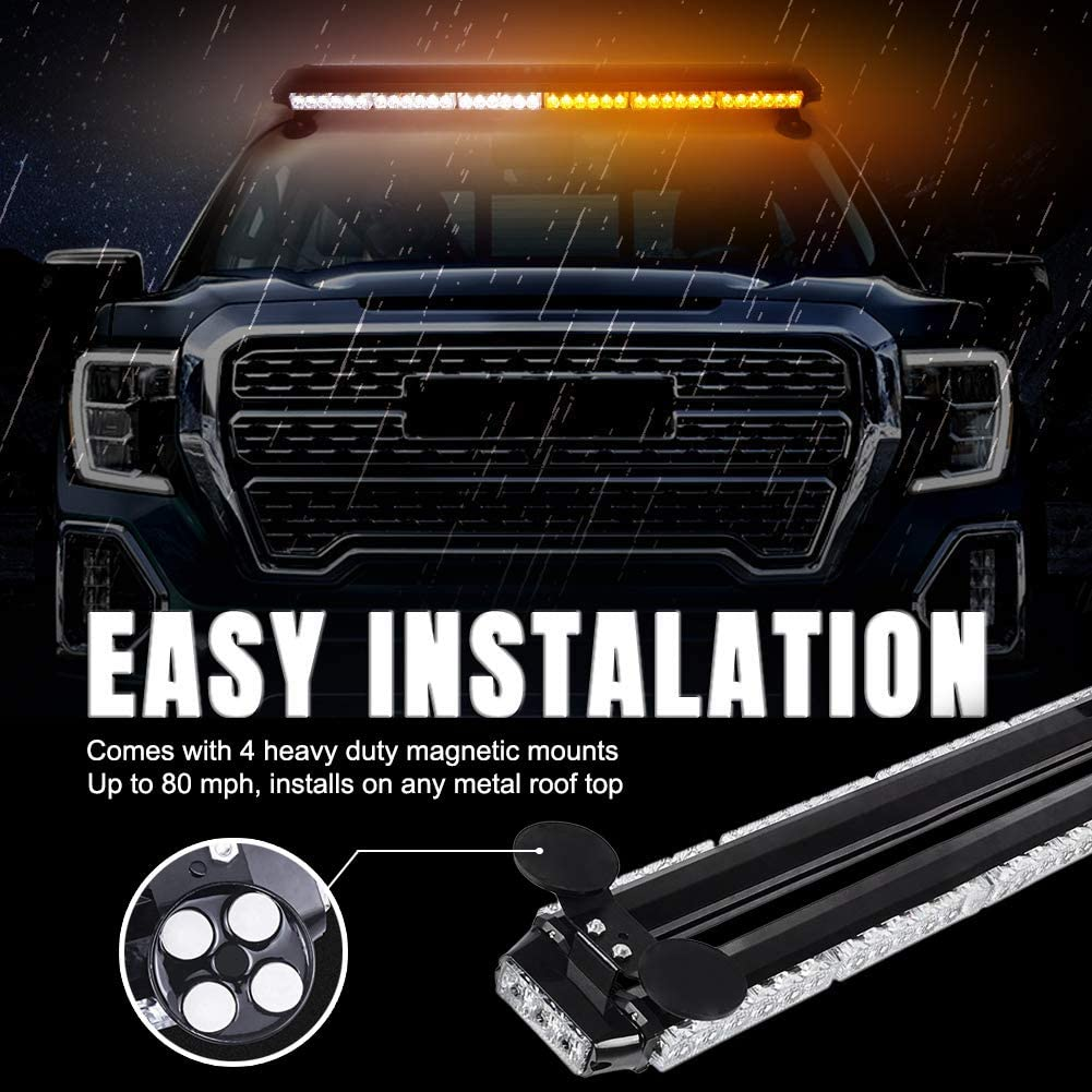 for Plow or Tow Truck Construction Vehicle FOXCID Blue 38 78 LED Emergency Warning Security Roof Top Flash Strobe Light Bar with Magnetic Base