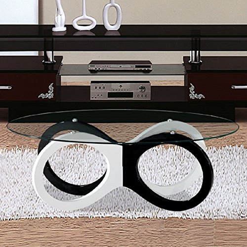 House Furniture Room Living Regency (BESTChoiceForYou New Olympia Black and White Coffee Table - Glass Top Modern Style Round Base Design Home Living Room Furniture)