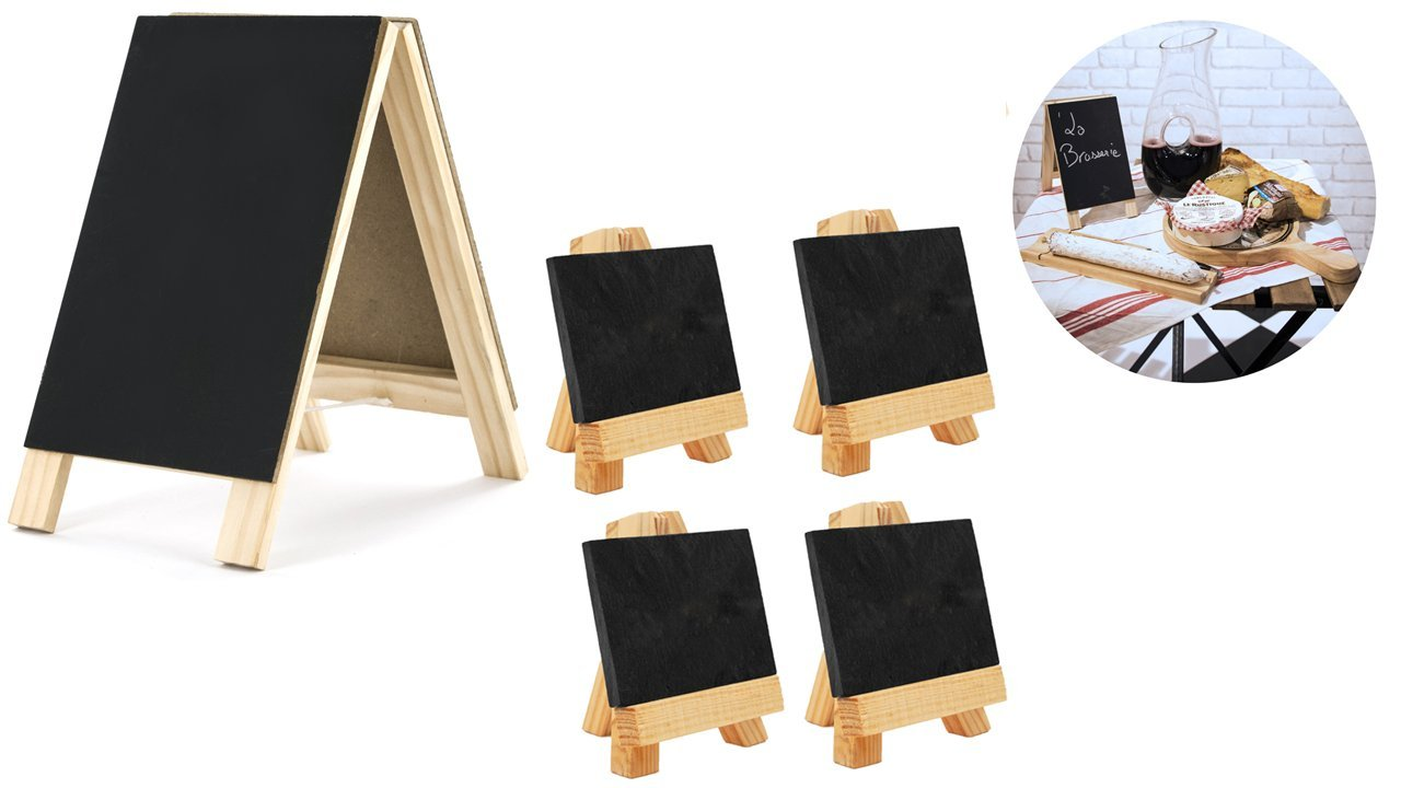 Maison Plus 9 Pc Mini Slate Markers Set (3.15'' X 2.13'') with Lily Cook Double Sided Chalkboard Table Easel (4.5'' X 8.2'') - For Parties, Seat Assignments, Food Displays, Any Special Events.