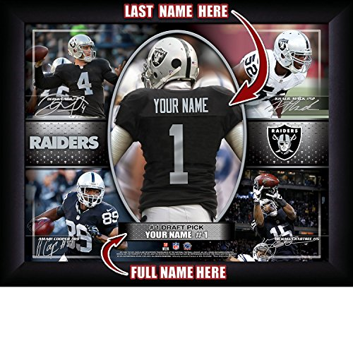 Picture Personalized Nfl (Oakland Raiders Personalized NFL Football Number One Draft Pick Action Autograph Collage Framed Art Print 13x16 Inches)