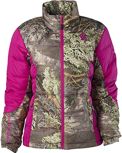 Browning Women's Hell's Belles Coral And Camo Blended Down Jacket Camouflage Medium