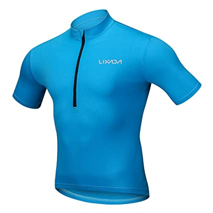 c491503dd Lixada Men s Short Sleeve Cycling Jersey - Bike Biking Shirt Breathable  Quick Dry Bicycle Short Sleeve