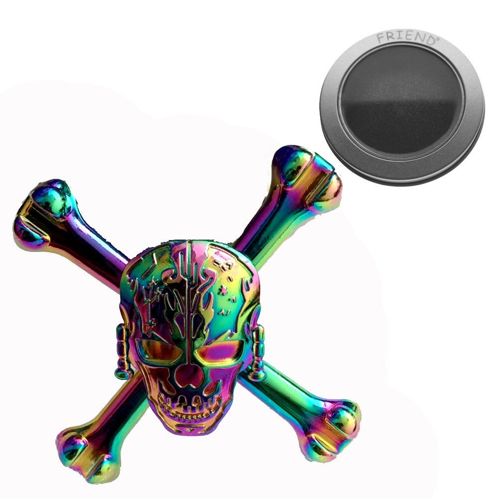 ZEZI Metal Playful Fidget Devil Spinner Toys for Hand Colorful Skull