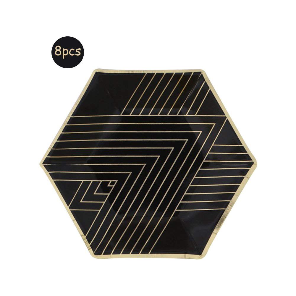 Hexagon Bronzing Series Disposable Birthday Party Wedding Tableware Cutlery Suit