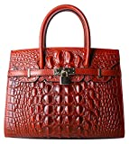 Pijushi Embossed Crocodile Purse Genuine Leather Satchel Handbags Office Padlock Bag Holiday Gift 9016(30cm Red Croco)