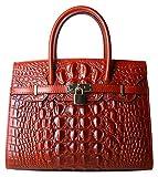 PIJUSHI Women Purses And Handbags Crocodile Top Handle Satchel Bags Designer Padlock Handbags (9016 Red)