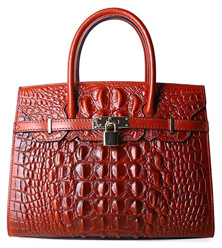 Pijushi Embossed Crocodile Purse Genuine Leather Satchel Handbags Office Padlock Bag Holiday Gift 9016(30cm Red Croco) (Croco Embossed Leather)