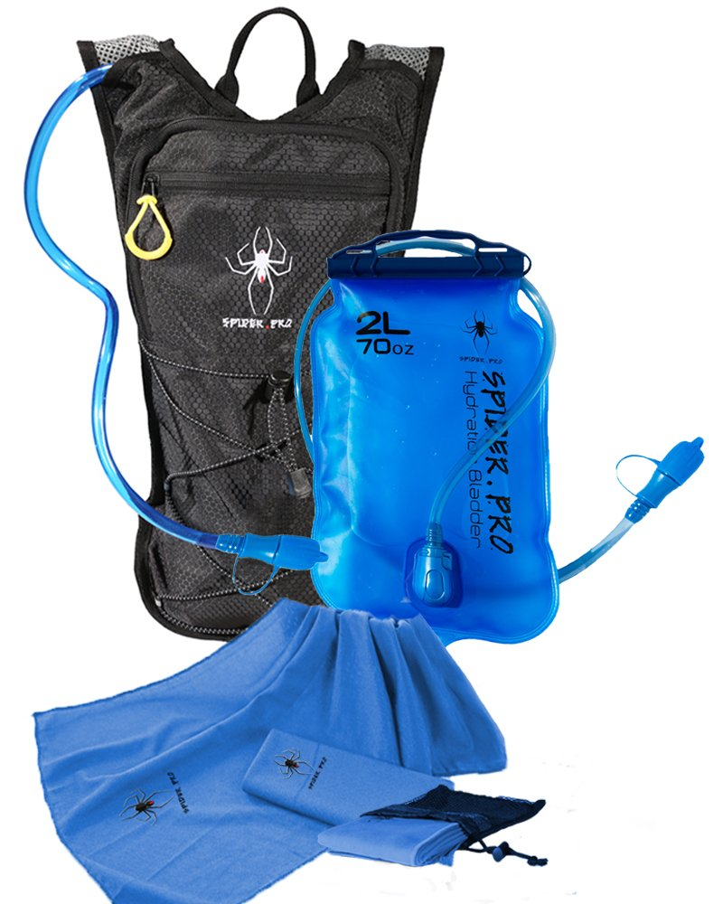 Spider Pro Hydration Pack Lightweight Backpack with 2L Water Bladder INCLUDE BONUS MICROFIBER SPORTS TOWEL Hydration Backpack Great for All Outdoor Sports Adjustable Chest Sizes 27'' - 50'' by Spider Pro