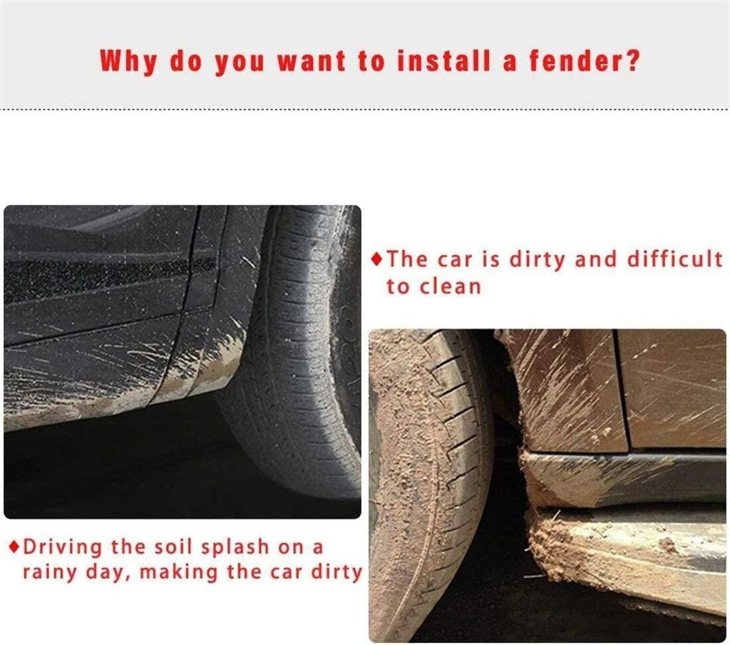Color : White RKRXDH Vorne Hinten Auto Schlamm Flattert Spritzen-Schutz-Schmutzf/änger Fender Kotfl/ügel 4er Pack Painted Gloss White Mud Flaps Fit for Tesla Model 3
