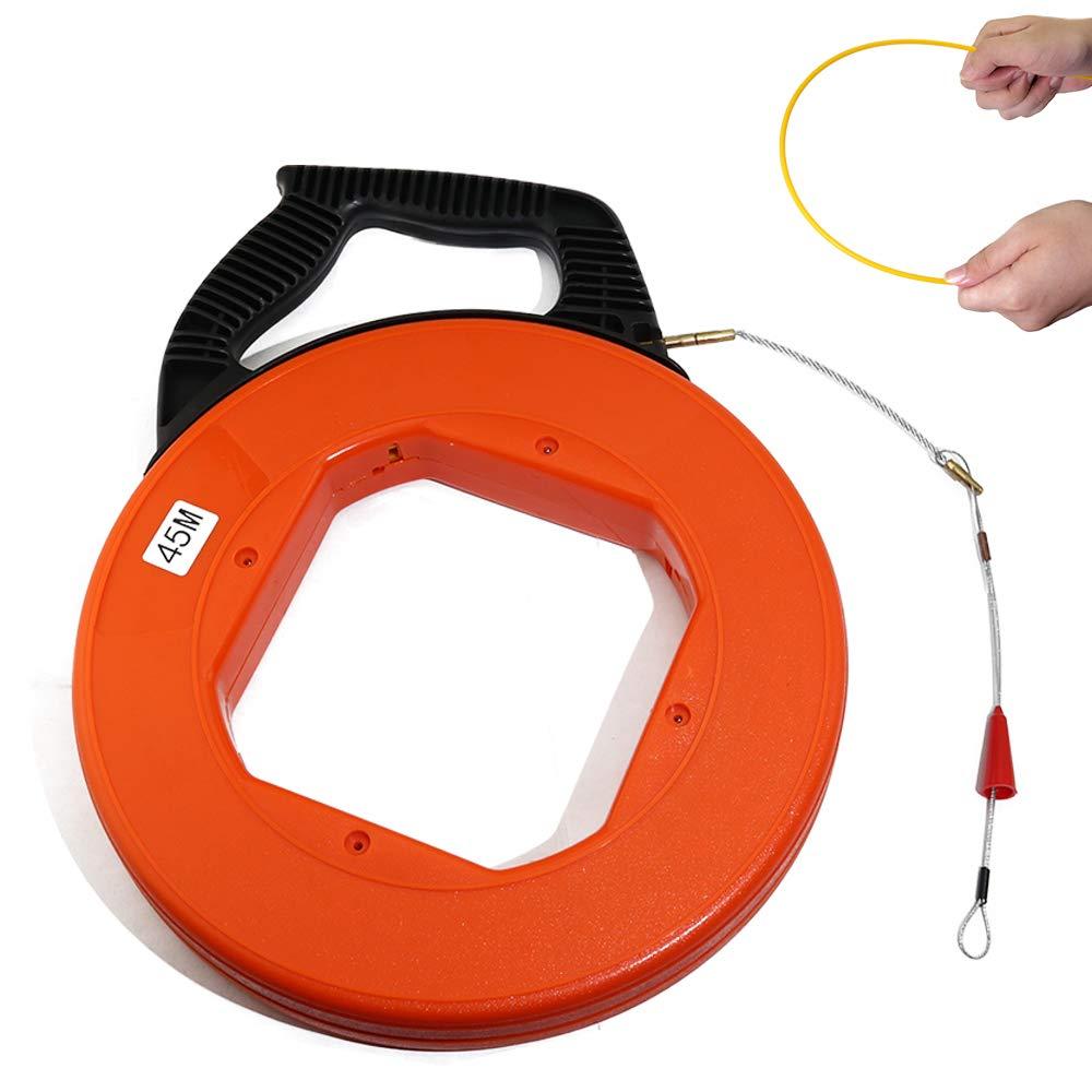 Boeray 4mmx45m(150FT) Fiberglass Electrical Fish Tape Reel, Great for Pull Line, Long Runs,Orange