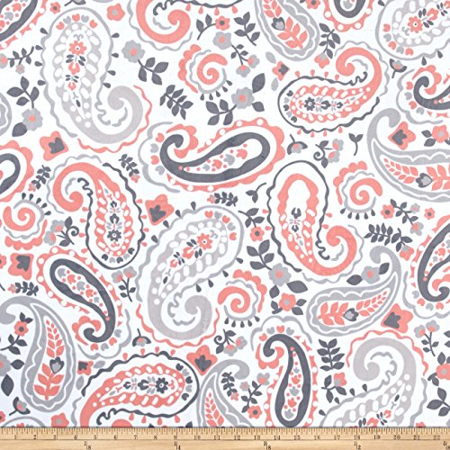 E.Z Fabric Minky Kashmir Paisley Grey/Coral Fabric By The Yard
