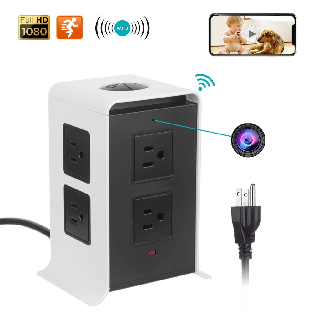 Wireless Charger Multi Plug Mini Hidden Camera With 4 USB 2.0 Data Ports - 8 Outlet - Real Time Motion Detection - App Remote Monitoring Alarm Push For Office And Home - Computers & Accessories