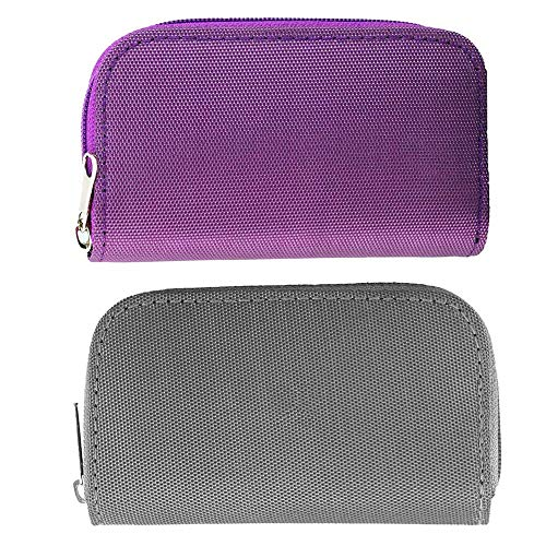 [2-Pack] Memory Card Case - Carrying Case Suitable for SDHC / SD Cards, with 8 Pages and 22 Slots Card Holder Bag Wallet for Media Storage Organization (Purple+Grey)