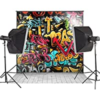 MUEEU 8x8ft Graffiti Backdrop 90s Hip Hop Alphabet Photo Vinyl Wood Floor Party Colorful Brick Wall Mural Art Decoration Letterings Photography Background Studio Props-Multi Color
