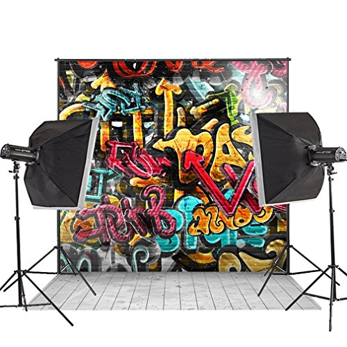 (MUEEU 8x8ft Graffiti Backdrop 90s Hip Hop Alphabet Photo Vinyl Wood Floor Party Colorful Brick Wall Mural Art Decoration Letterings Photography Background Studio Props-Multi)