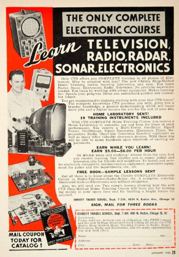 1955 Ad Christy Trades School Tv Radio Radar Sonar 4804 N Kedzie Chicago Il   Original Print Ad