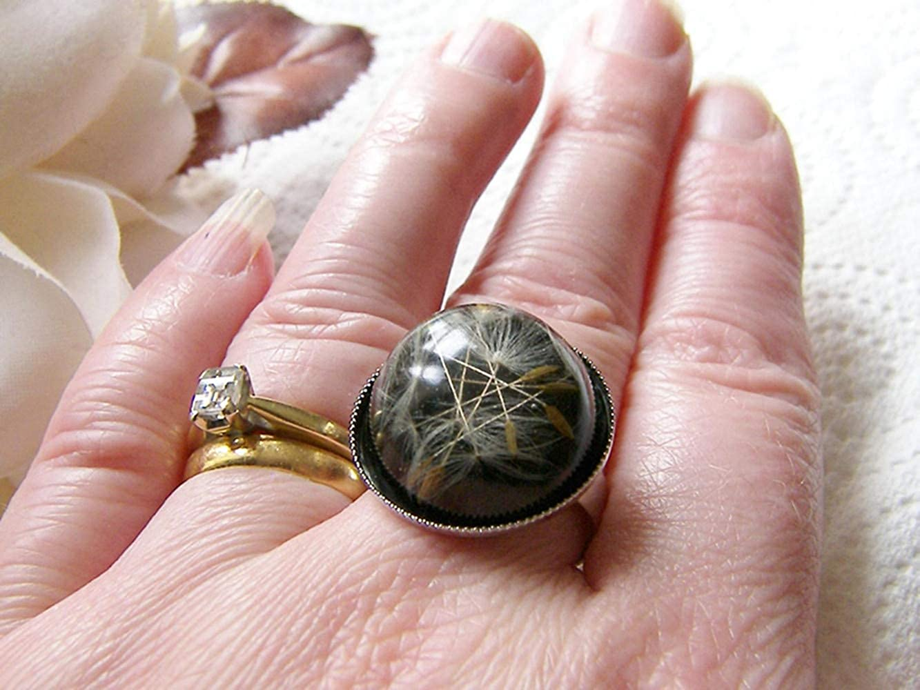 Eco Friendly Resin Ring Black Resin Ring Make a Wish Resin Jewellery Nature Specimen Dandelion Real Seeds Ring
