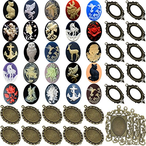 50pc Jewelry Making Kit Metal Blank Frame and Unset Handmade Cabochon Cameo 25x18mm