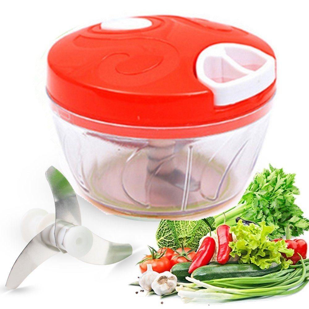 Aibily Manual Food Chopper Easy Pull Food Chopper Hand Held Vegetable Chopper/Mincer/Blender to Chop Fruits/Vegetables/Nuts/Herbs/Onions/Garlics for Onion Salsa/Salad/Pesto/Coleslaw/Puree-RED aibili