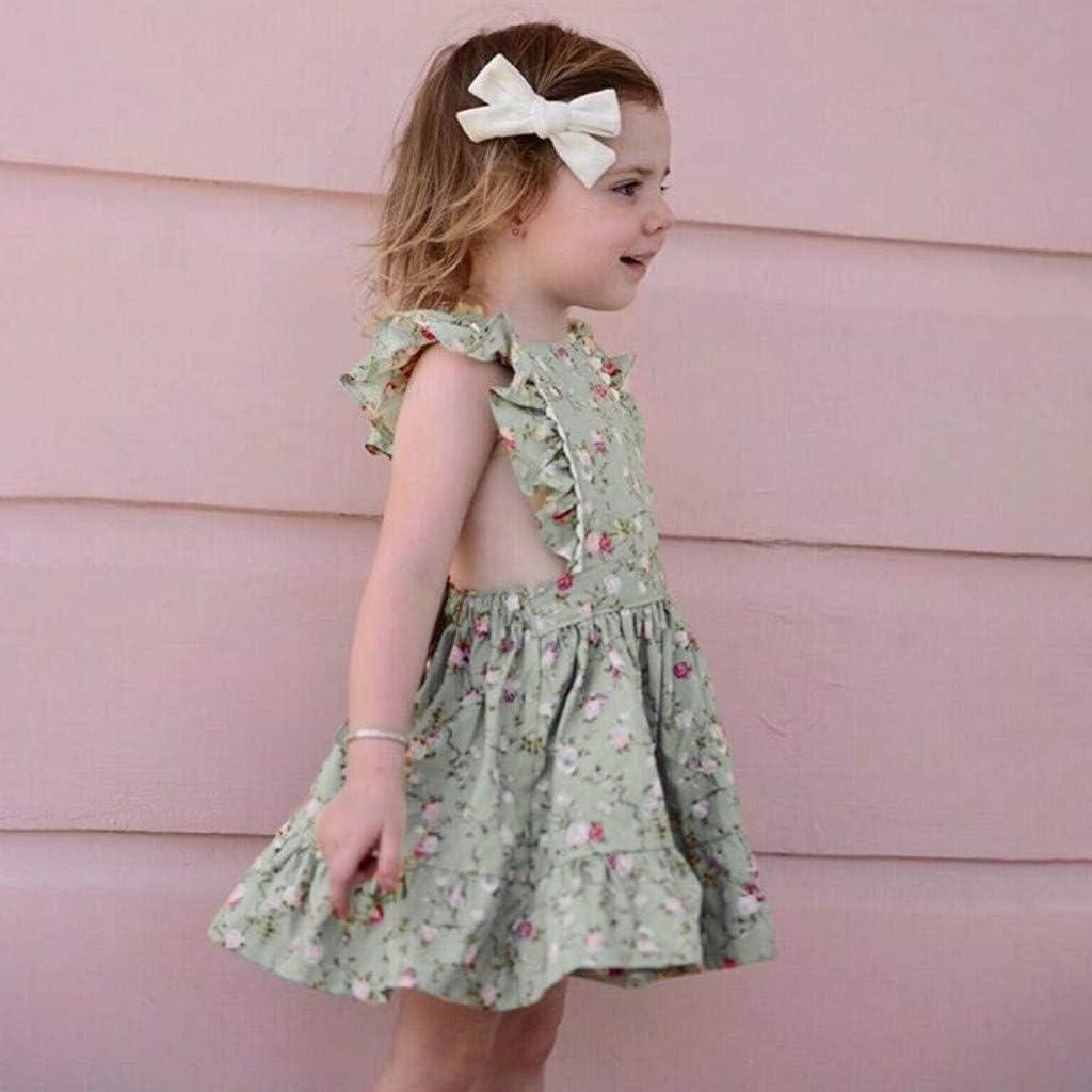 Principessa Vestiti per neonate Abito Stampa Floreale Manica Lunga Gonna Reggicalze