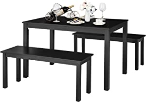 Giantex Dining Table with Bench, Wooden 3 Pcs Kitchen Dining Room Furniture for 4, Modern Studio Collection Table Set with 2 Beches, Dinette Set, Kitchen Small Bench Table Set (Black)