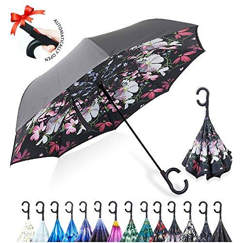 ZOMAKE Large Double Layer Inverted  Umbrella Cars Reverse Umbrella
