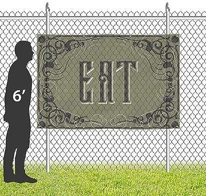 12x8 Victorian Gothic Wind-Resistant Outdoor Mesh Vinyl Banner Eat CGSignLab