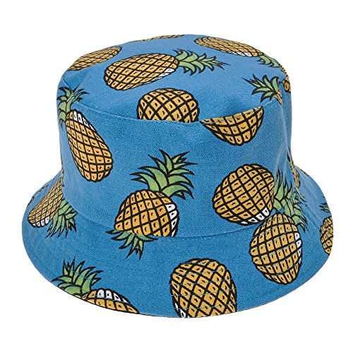 ZLYC Unisex Lovely Cute Funky Passion Fruit Print Fisherman Bucket Hat Outdoor Cap (Blue 2 - Pineapple Print) - Fruit Hat