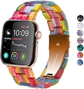 SPINYE Band Compatible with iWatch 38mm 42mm 40mm 44mm, Colorful Resin Replacement Bracelet Strap for Apple Watch Series 5/4 / 3 Women Men (38/40mm, Rainbow)