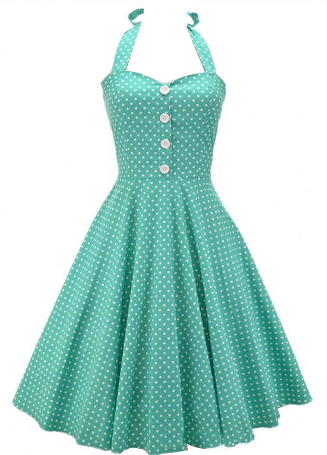 SMITHROAD Rockabilly 50er Polka Dots Punkte Kleid Abend Tanzkleid Neckholder Pin Up Taste