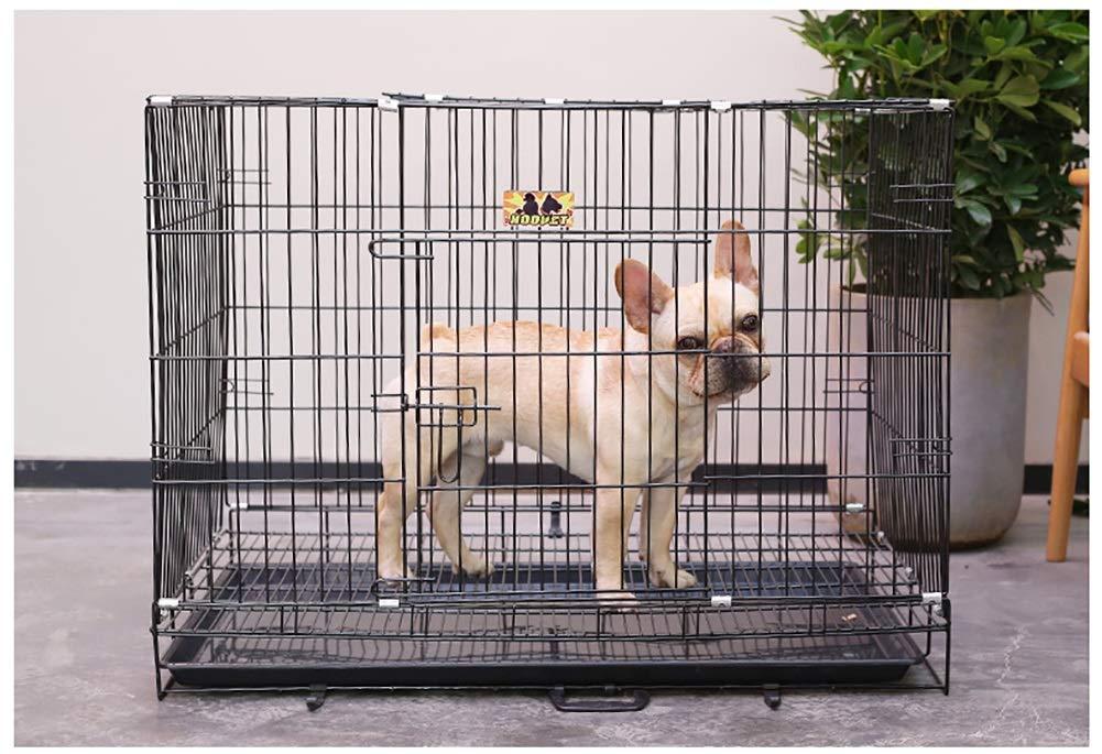 Jaula perro transportin Perro Gato Cajón Plegable para Perros - Metal, Perrera Grande para Mascotas, con Bandeja, Exterior para Interiores (Tamaño : L ...