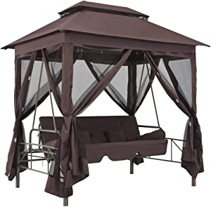 Canditree Outdoor Porch Swings with Canopy, Gazebo Swing Bed with Pillows and Closed Mesh (Coffee)