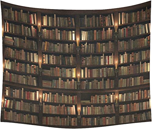 INTERESTPRINT Vintage Library Home Decor Wall Art, Retro Bookshelf Tapestry Wall Hanging Art Sets 60 X 51 Inches