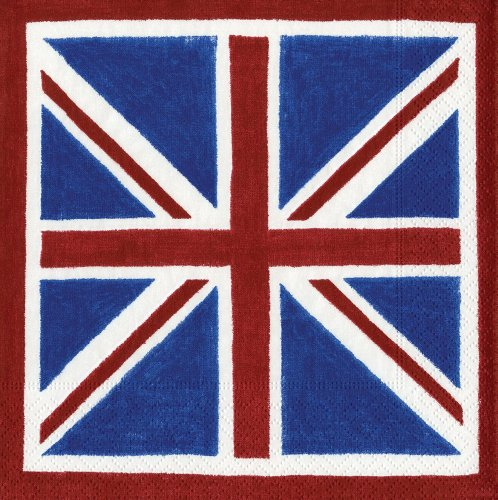 (Entertaining with Caspari Union Jack Paper Cocktail Napkins, Pack of)