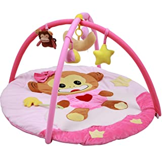 Sanqing Cartoon Monkey Baby Gym. Infant Fitness Playmat Multifunzione Baby Playmat Gioca a Gym Removable Toys (Pink Cartoon Monkey)