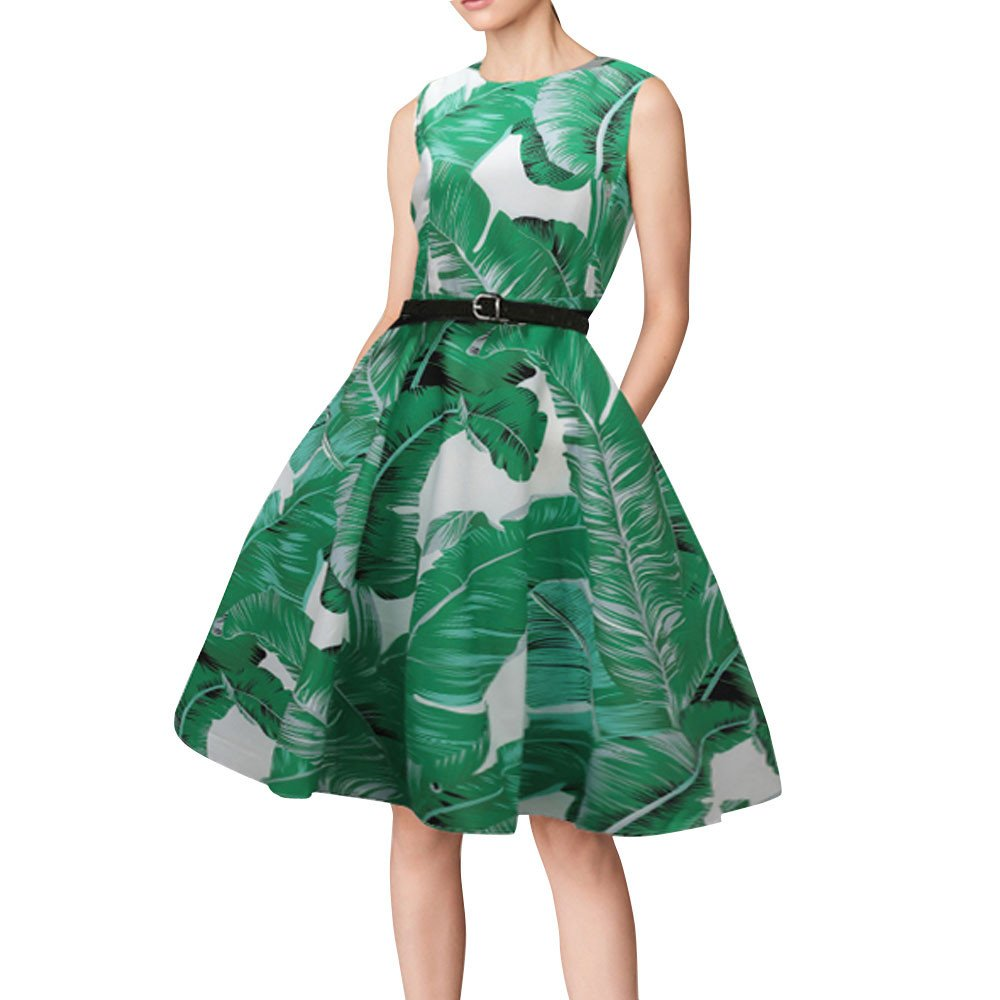 Clearance! 50S 60S Vintage Dresses Sleeveless for Women Floral Print Prom Swing O-Neck Dresses with Belt for Summer