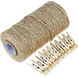 Anpro 1PC 320 Feet Natural Jute Twine and 50 Pcs 3.5cm Wood Clothespins, Arts Crafts Gift Christmas Jute Twine Packing Industrial Twine Materials Durable String for Gardening Applications