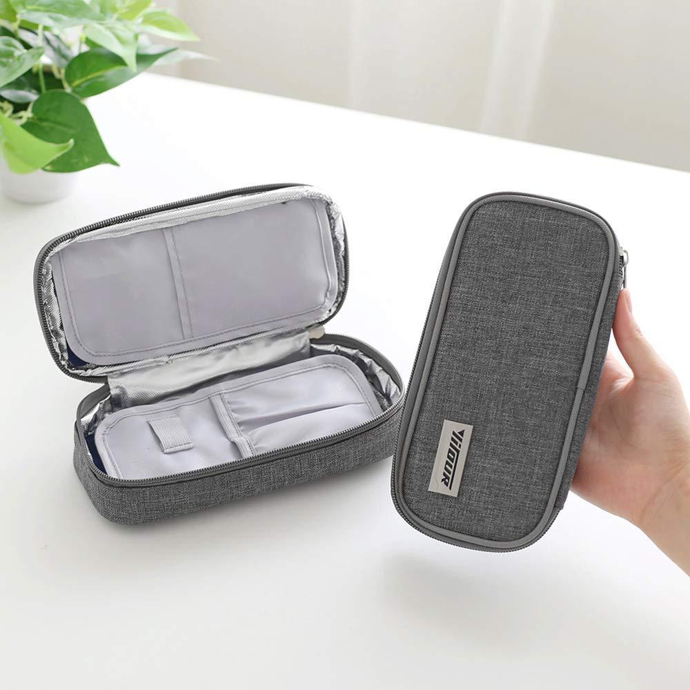 Borsa da viaggio per insulina Blu 2 impacchi di ghiaccio Borsa termica per insulina Custodia protettiva per assistenza medica Organizzatore diabetico Borsa termica portatile da viaggio