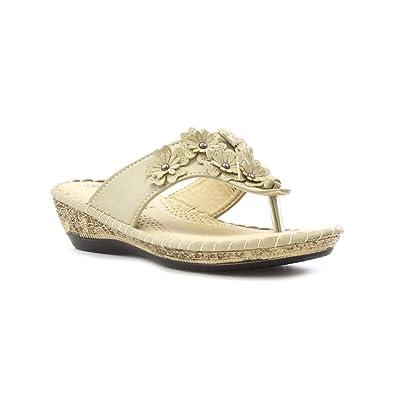 9c6e93efd Softlites - Women Beige Toe Post Sandal with Flowers - Size 9 UK - Beige