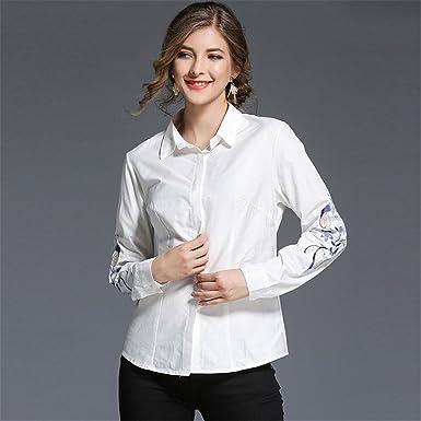 Camisa de Manga Larga, Camisa Blanca, Camisa Blanca, Ojal ...