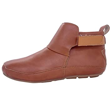LILIHOT Damen Vintage Lederstiefel Flache Wasserdichte Schuhe Winter Round Toe Ankle Boots Leder Kurzschaft Stiefel Winter Elegant Ankle Stiefeletten