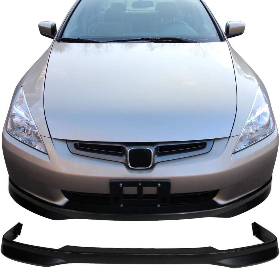 4DR Front Bumper Lip Spoiler Splitter Bodykit Black Valance Chin Lip By IKON MOTORSPORTS Front Bumper Lip Compatible With 2003-2005 Honda Accord Sedan