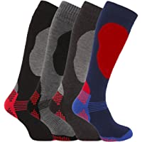 Mens 4 Pairs High Performance Thermal Snow Ski Socks Hiking Top Quality Long 2.0 TOG Multi 6-11