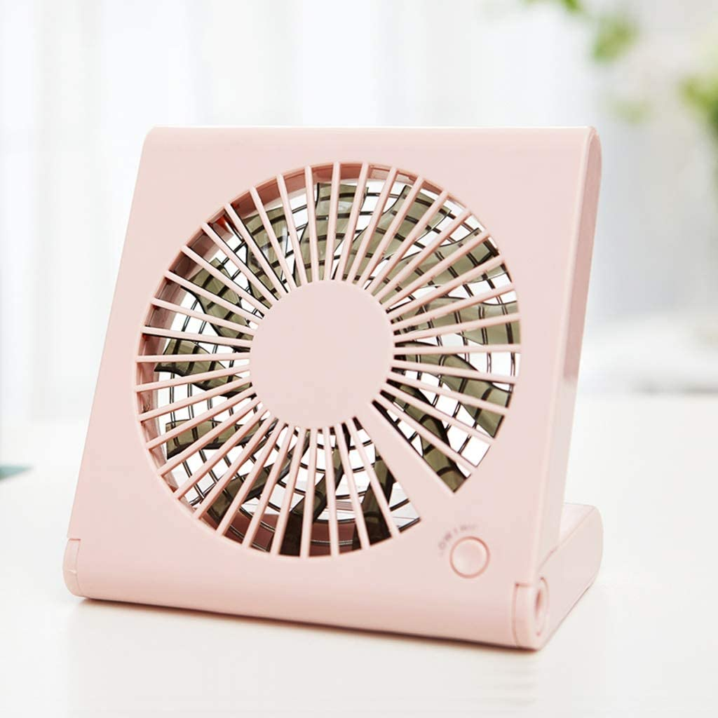 USB Rechargeable Student Dormitory Hanging Neck Fan Color : Pink Portable Office Desk Desktop Ultra-Quiet Handheld Fan A++ Folding Notebook Fan